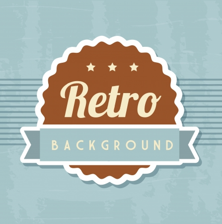 retro illustration with ribbon over blue background. vector Stock Vector - 19180369