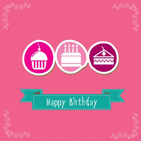 Happy Birthday card with cupcakes over pink background Stock Vector - 19305890