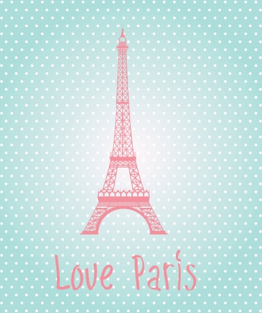 Love Paris label over blue background illustration Vector