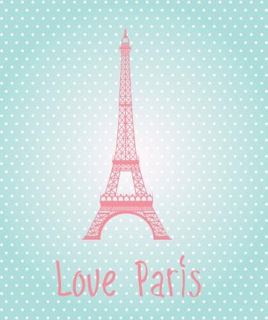 eifel: Love Paris label over blue background illustration