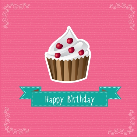 Happy birthday card over pink background illustration Stock Vector - 19306074