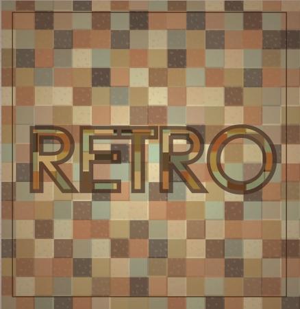 retro label over squares background illustration Stock Vector - 19306238