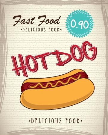 Fast food label with a big hot dog over vintage background Vector