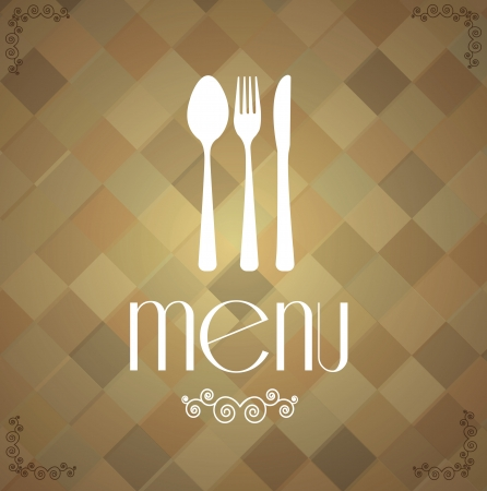 retro cutlery over vintage square background illustration Vector