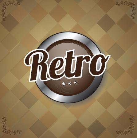 Button retro over vintage background illustration Stock Vector - 19306227