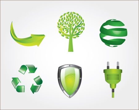 Eco icons over white background Nature and illustration Vector