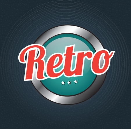 Retro button over blue background illustration Stock Vector - 19306133