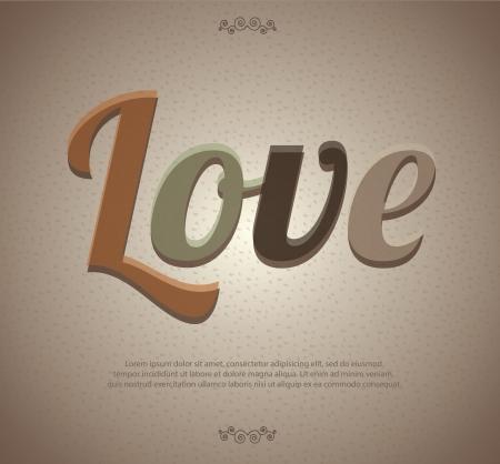 Love label over vintage background illustration  Vector
