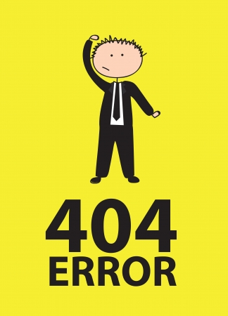 404 Error background with man over yellow illustracion  Vector
