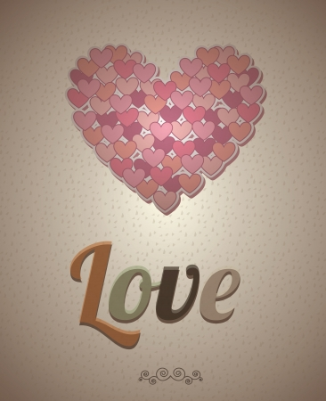 Love card and hearts over vintage background illustration Vector