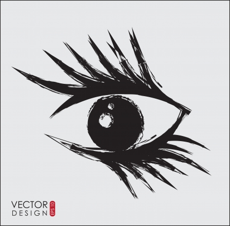big eye lashes  over white background illustration Vector