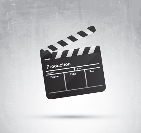 Clap board over gray background illustration Vector