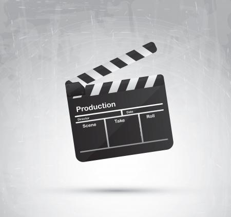 clap board: Tarjeta de la palmada sobre gris ilustraci�n de fondo