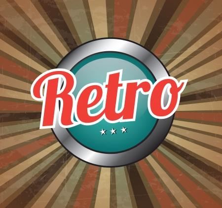 Retro button over vintage background illustration Stock Vector - 19306518