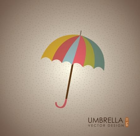 Umbrella label over vintage background illustration Stock Vector - 19306330