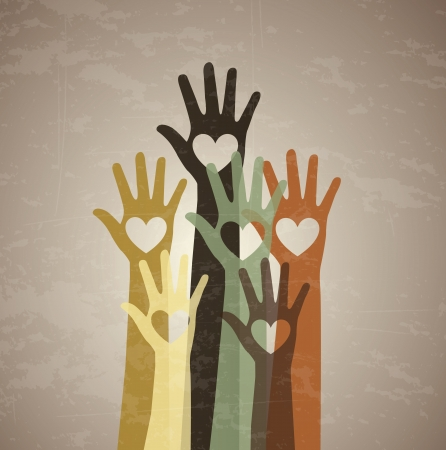 encouragements: several hands with a heart in the center over vintage background Illustration