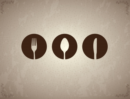 lunch table: Cutlery label over vintage background illustration