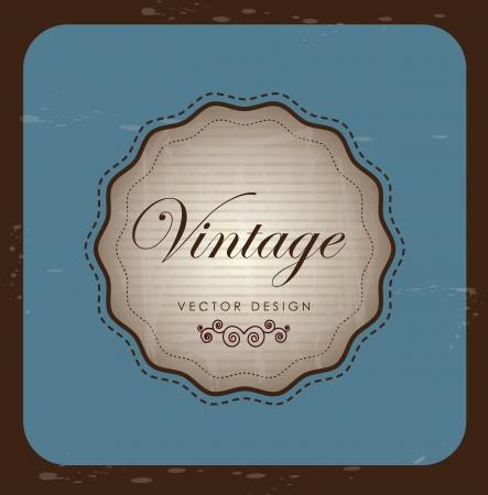 Vintage label over blue and brown background illustration Stock Vector - 19306237