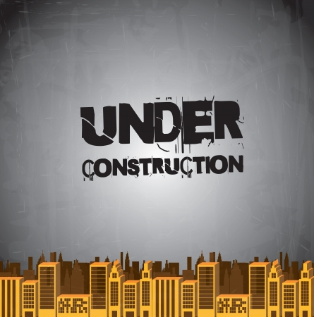 under construction sign with man: Under construction background with building illustration