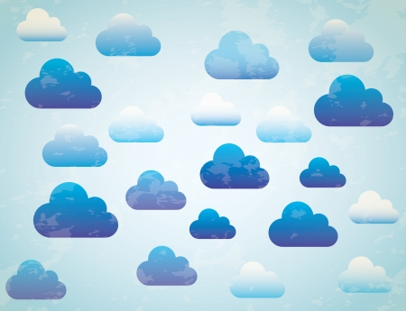 Blue and white sky, blue background illustration Vector