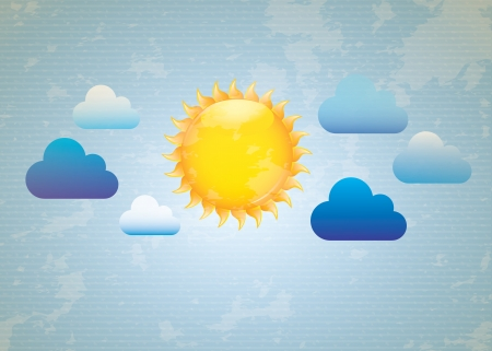 Blue and white sky with a big sun illustration Vector