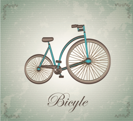 Antique bicycle over vintage background illustration Ilustração