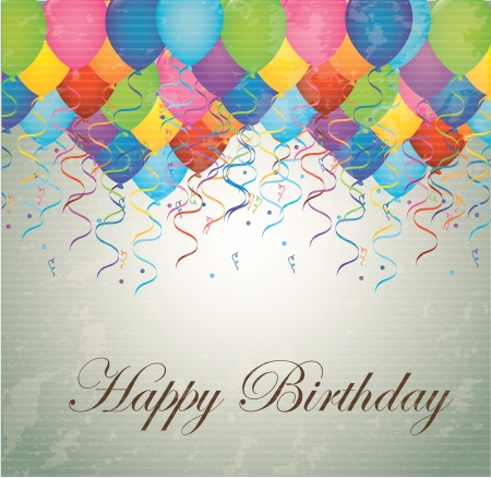 Happy birthday card with balloons illustration Vector