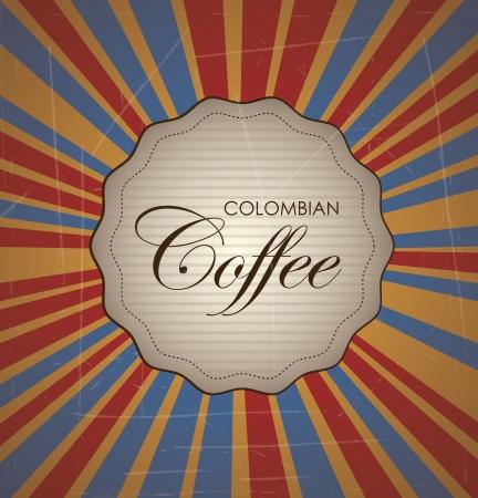 cafe colombiano: Caf� colombiano cosecha ilustraci�n sobre fondo