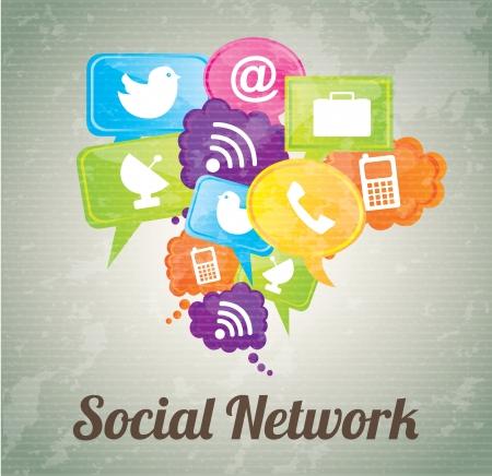 Sociaal netwerk pictogrammen over vintage achtergrond illustratie