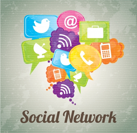 Social network icons over vintage background illustration Vector