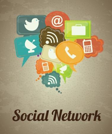 interaccion social: Iconos de redes sociales m�s cosecha ilustraci�n de fondo