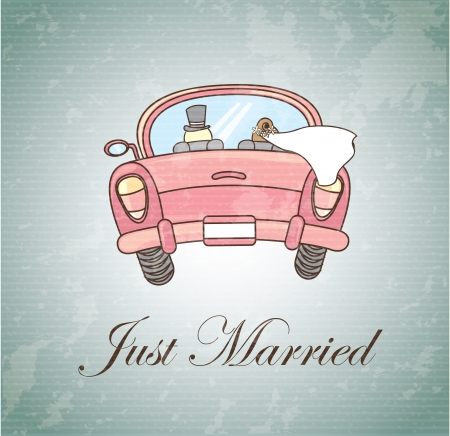 newlyweds: Just married over vintage background illustration