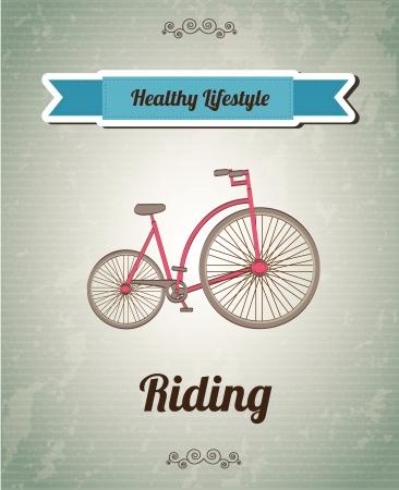 Bike over vintage background illustration healthy background Vector