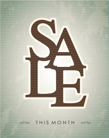 Sale label over vintage background illustration Vector