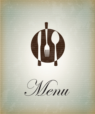 restaurant setting: Cutlery icons over vintage background illustration
