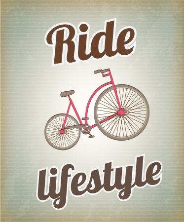 Bike over vintage background illustration healthy background Vector