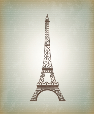 Tower Eiffel icon over vintage background illustration Vector