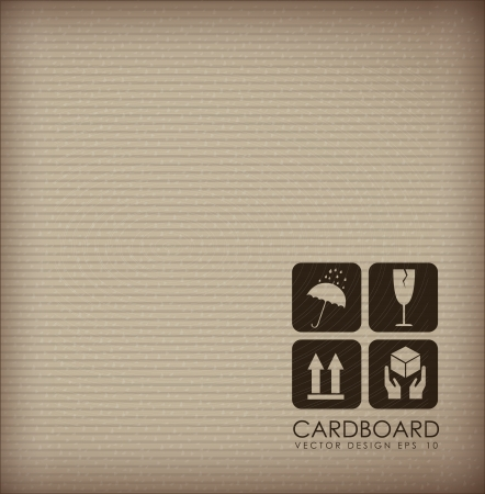 Cardboard background with different icons illustration Vector
