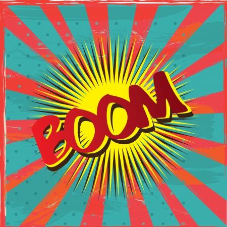 g�lle: Boom Label �ber Vintage Hintergrund Illustration