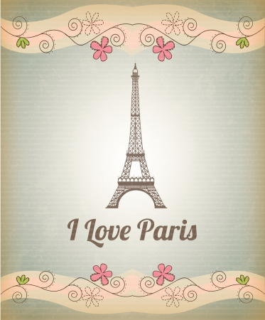 eifel: Tower Eiffel over vintage background with pink flower illustration