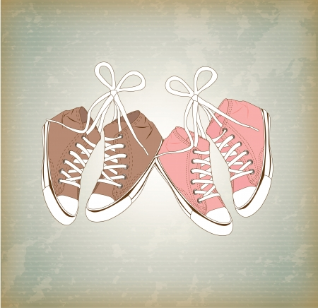 tennis shoe: old shoes  over vintage background illustration Illustration