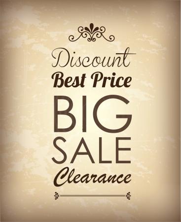 Big sale label over vintage background illustration Stock Vector - 19307460