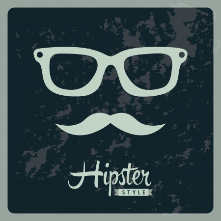 cool man: hipster illustration over blue background, old style