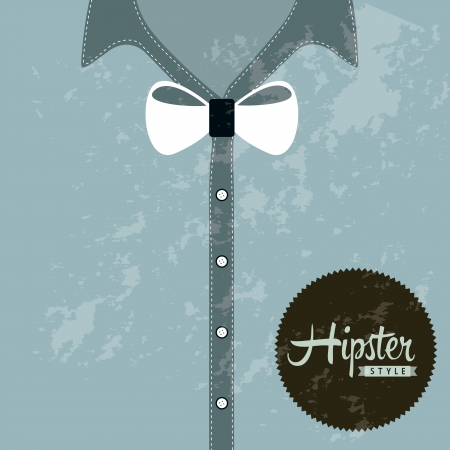 hipster illustration over blue background, old style Vector