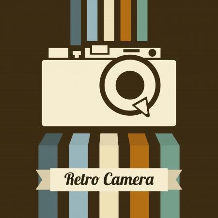 fotografi: fotocamera retr� su sfondo marrone, illustrazione