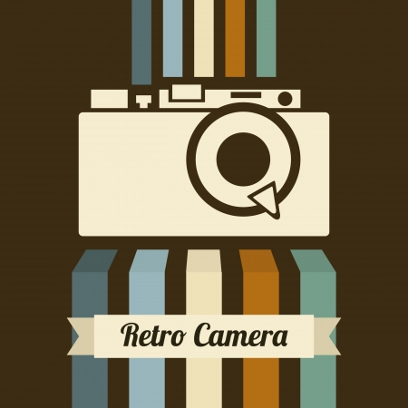 retro camera over brown background illustration Vector