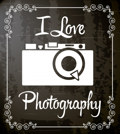 retro camera over black background illustration Vector