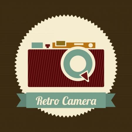 retro camera over brown background illustration Stock Vector - 19306527