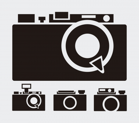 vintage camera: retro camera over-gray background  illustration