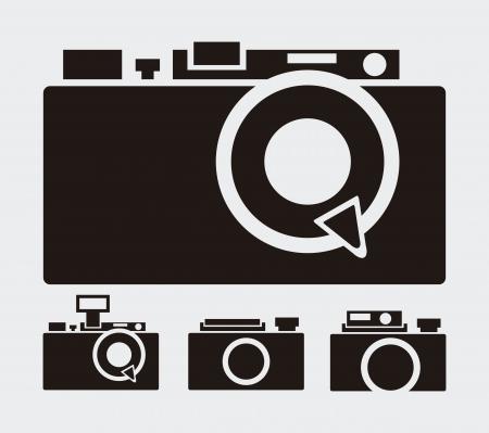 photographic film: retro camera over-gray background  illustration